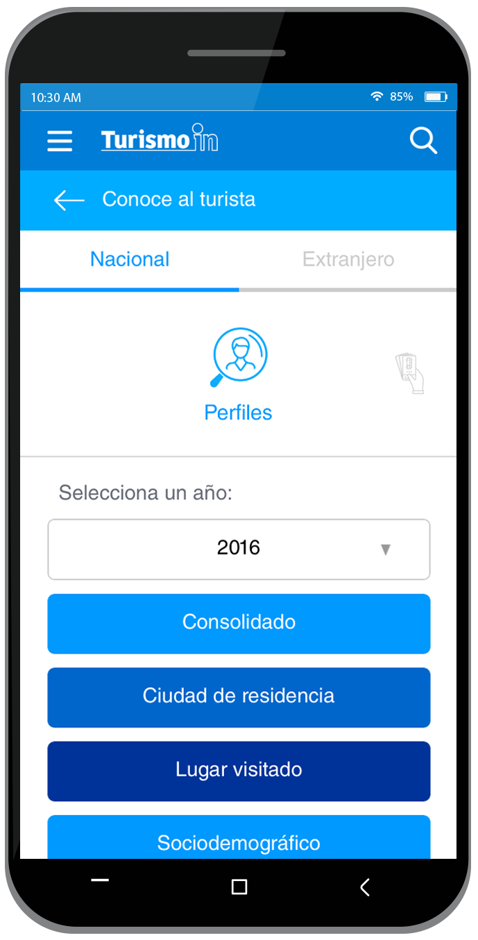Vista interna del app móvil Turismo In